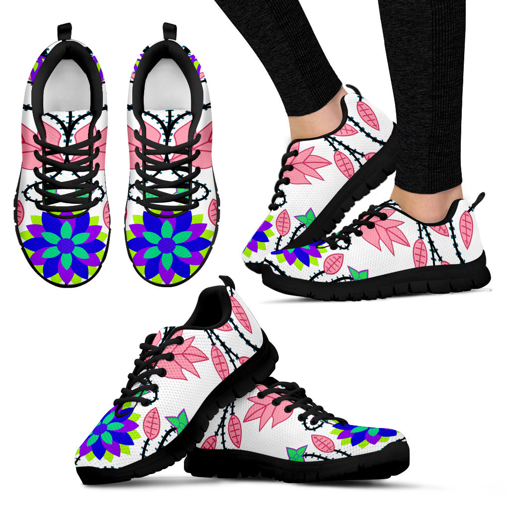 Floral Beadwork Four Clans White Sopo Women's Sneakers