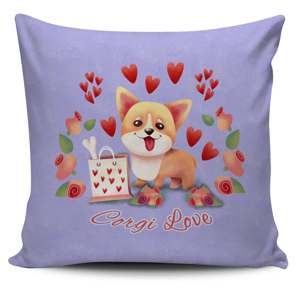 Lilac Corgi Love Pillow Cover Set