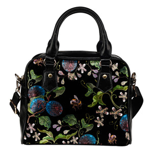 Ripened Plum Embroidery Print Vegan Shoulder Bag