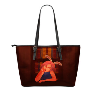 Library-Bunny-Girl-01 Small Leather Tote
