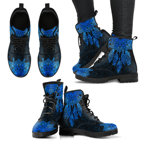 Blue Dream Catcher Mandala Women's Leather Boots