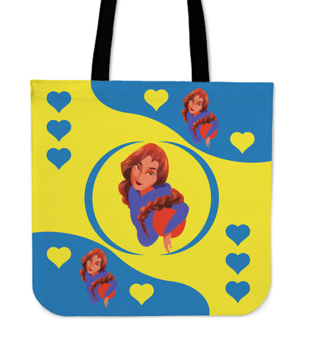 Sport-Club-Girl-01 Yellow and Blue Tote Bag