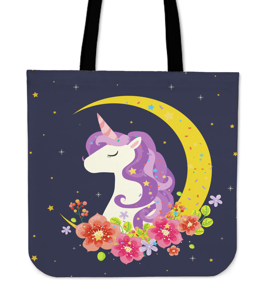 Dark Blue Starry Night Crescent Moon Unicorn Tote Bag