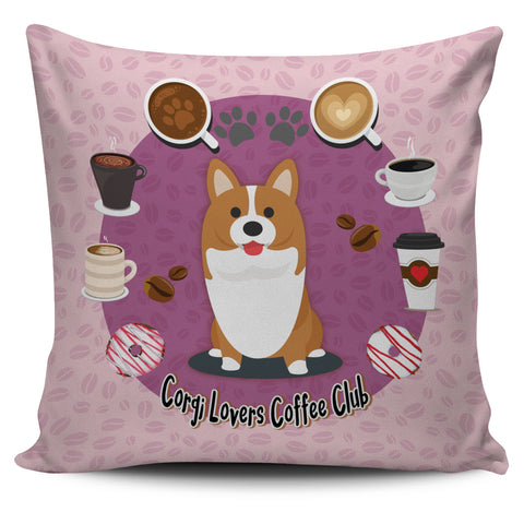 Corgi Lovers Coffee Club Pillow Cover Pink