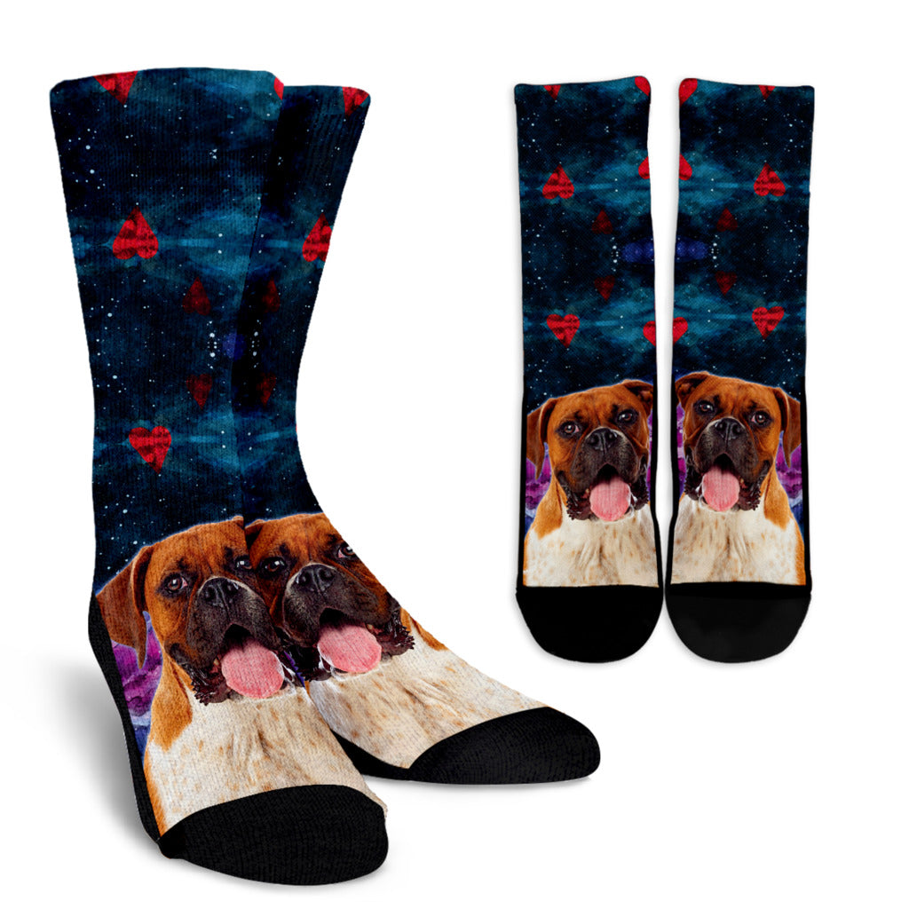 Boxer Dog Hearts Crew Socks Men and Women's Sizes