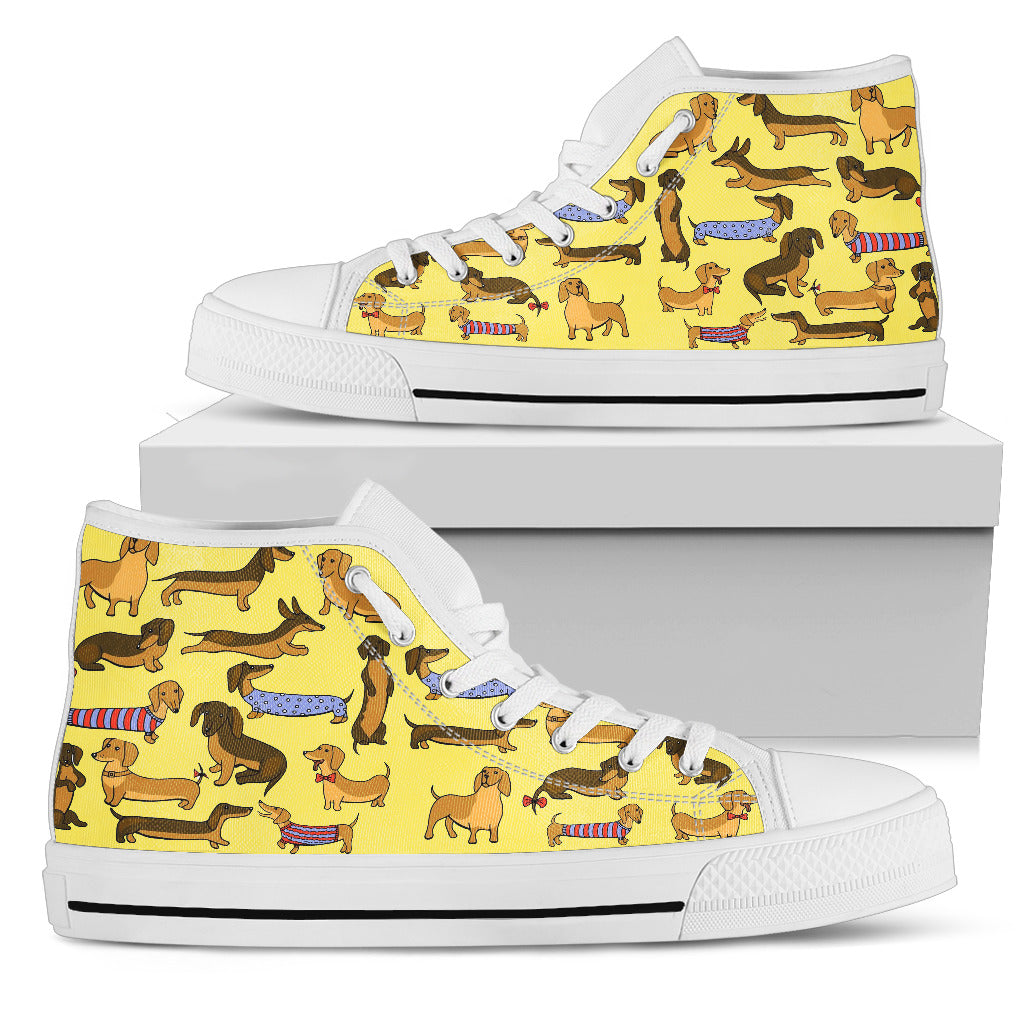 Yellow hightop with dachsund
