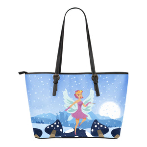 Snow-Fairy-01 Small Leather Tote