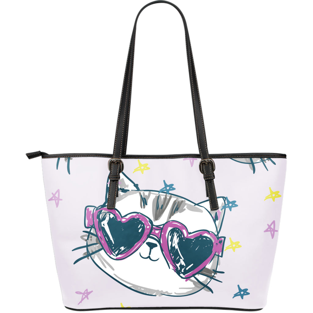 Happy Cat II Leather Tote Bag