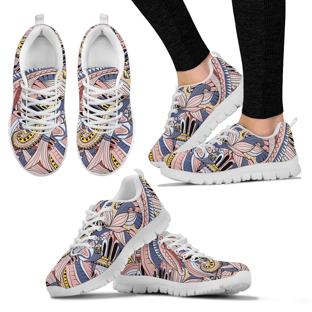 Funky Patterns in Pinks - Women's Sneakers (White)