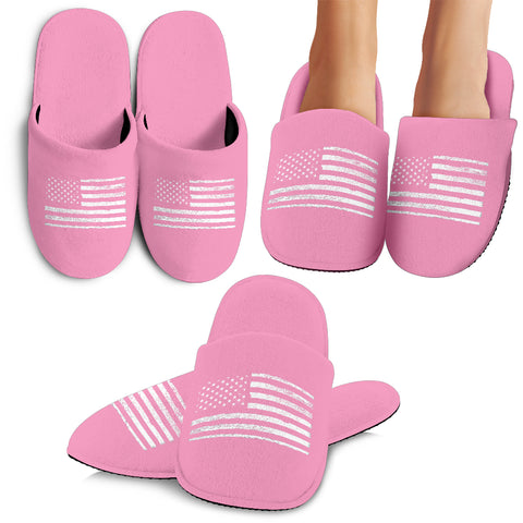 Pink USA Flag Slippers