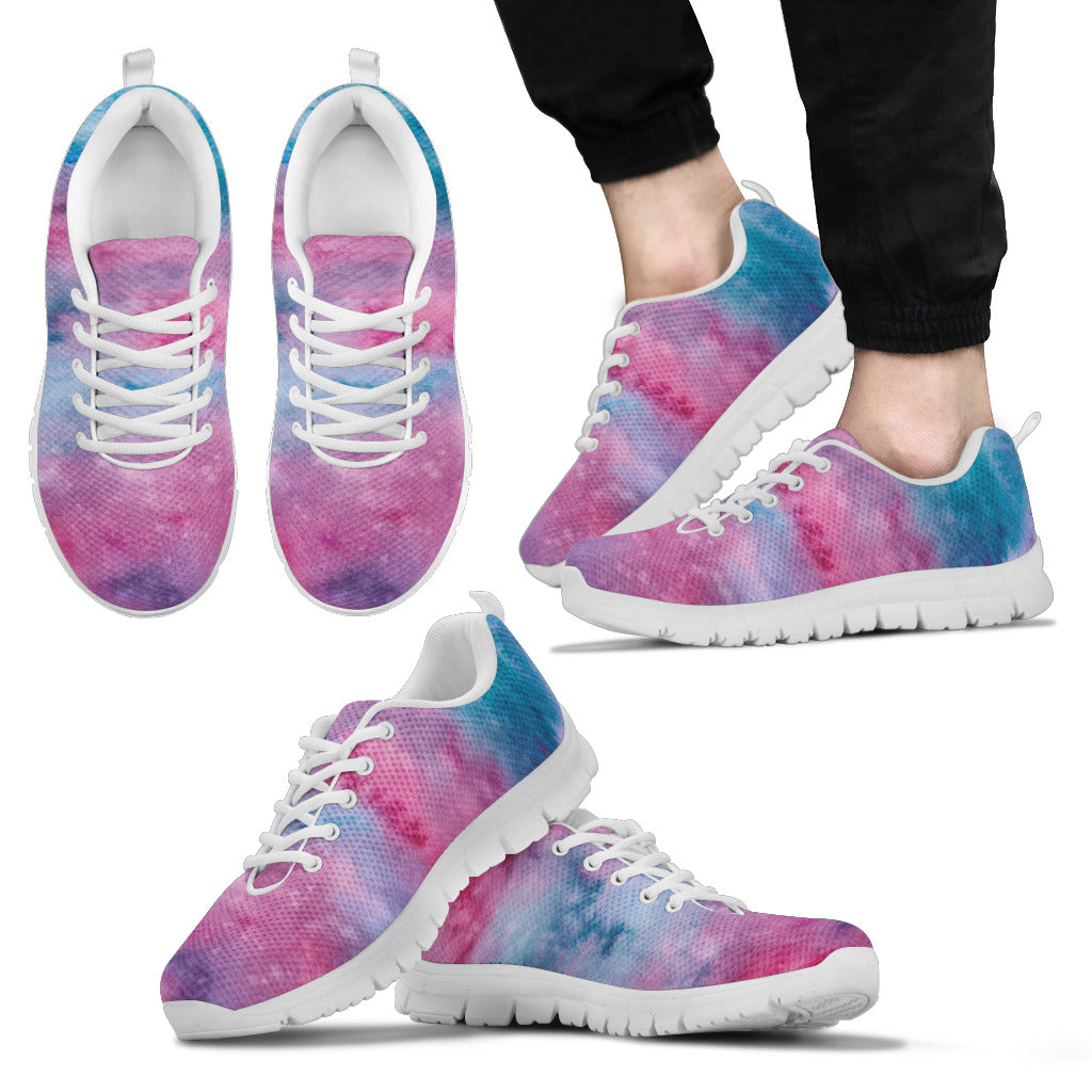 Pink Watercolor Mens Sneakers (White)