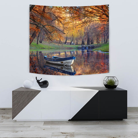 Image of Boat on the lake in the autumnal forest