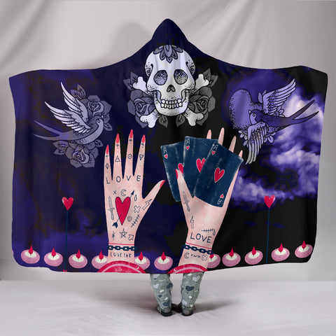 Image of Love Ink Hooded Blanket for Tattoo Lovers