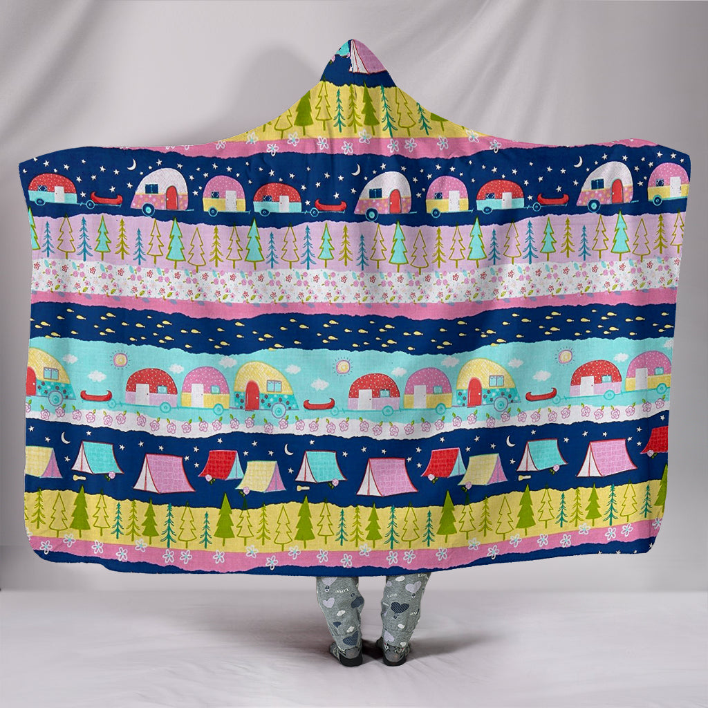 HAPPY TRAILS CAMPING HOODED BLANKET