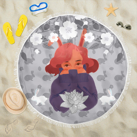 Image of Bunny-Girl-Gray-01 Beach Blanket