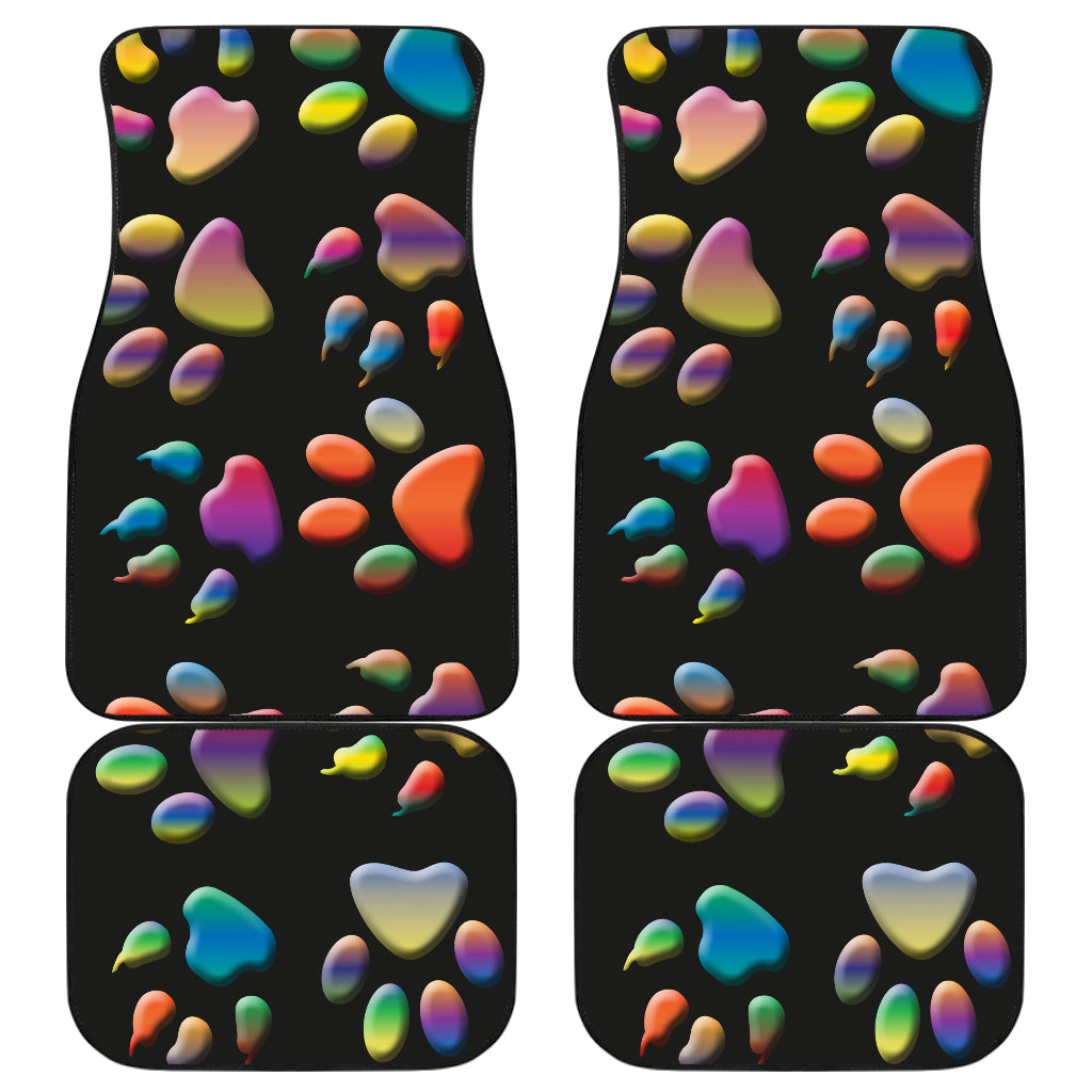 Colored paws Front And Back Car Mats (Set of 4)