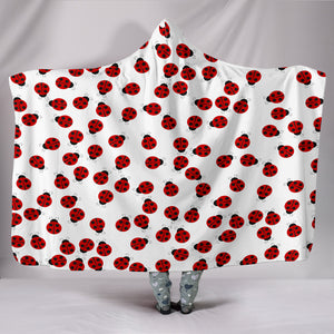 Red Lady Bugs Plush Lined Hooded Blanket