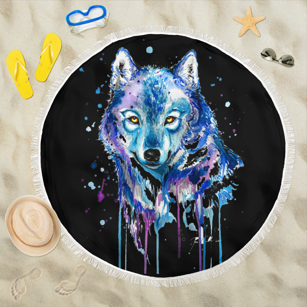 Watercolour Wolf Beach Blanket
