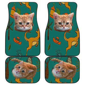 Yellow cat Front And Back Car Mats (Set of 4)