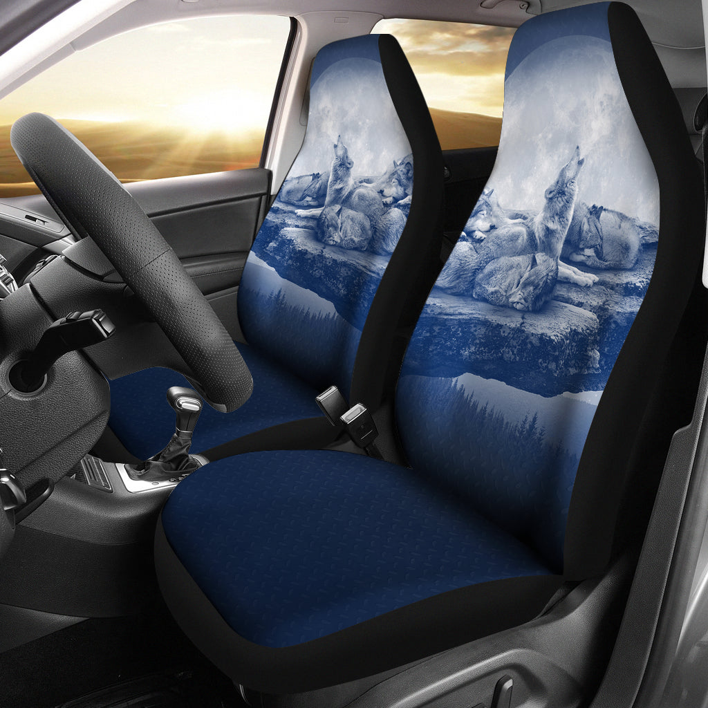 WOLF CAR SEAT COVERS - FAMILY - BLUE