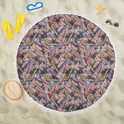 Funky Patterns in Pinks - Round Beach Throw