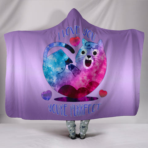 Image of I Love You You're Purrfect Hooded Blanket for Cat Lovers