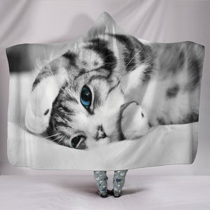 Simply Cat Lovers Plush Lined Wearable Hooded Blanket