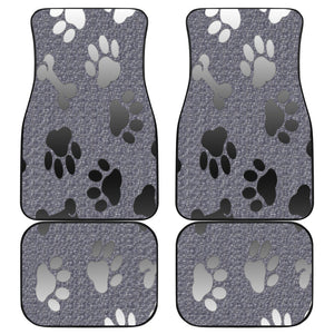 Silver bones and paws cute Front And Back Car Mats (Set of 4)