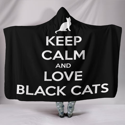 Image of Love Black Cats Hooded Blanket
