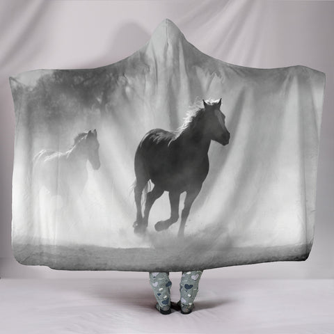 Image of Clouded Horse Hooded Blanket