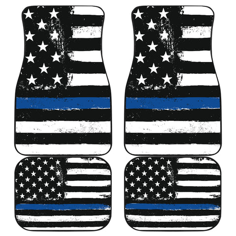 Image of Thin Blue Line Front And Back Car Mats (Set Of 4)