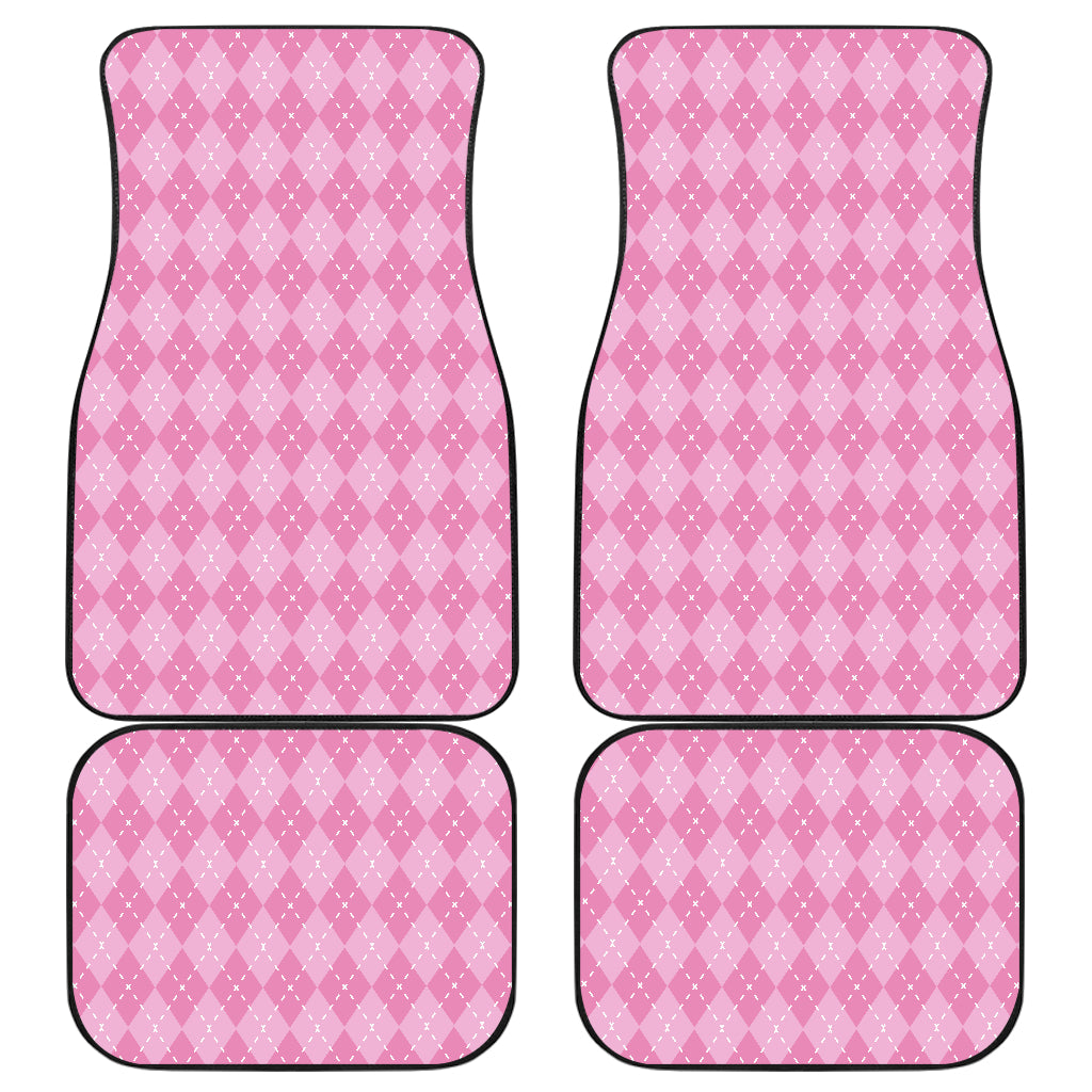 Pink Argyle Car Front And Back Car Mats (Set of 4)
