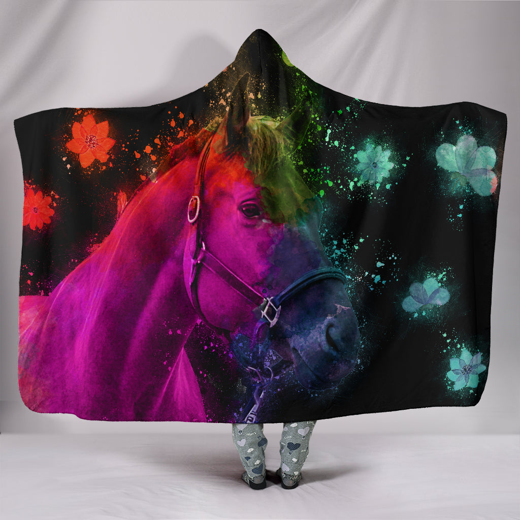 Beautiful Horse Hooded Blanket