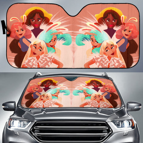 Image of Pink-Friends-01 Auto Sun Shades
