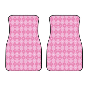 Pink Argyle Car Floor Mats Set 2