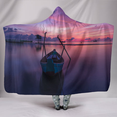 Image of Sunrise Plush Lined Hooded Blanket