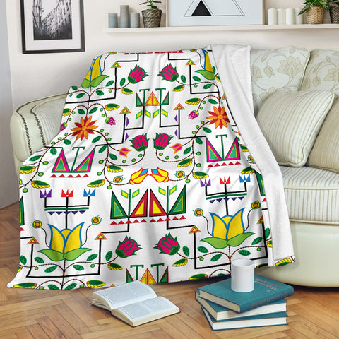 Image of Geometric Floral Summer-White Ultra-Soft Micro Fleece Premium Blanket