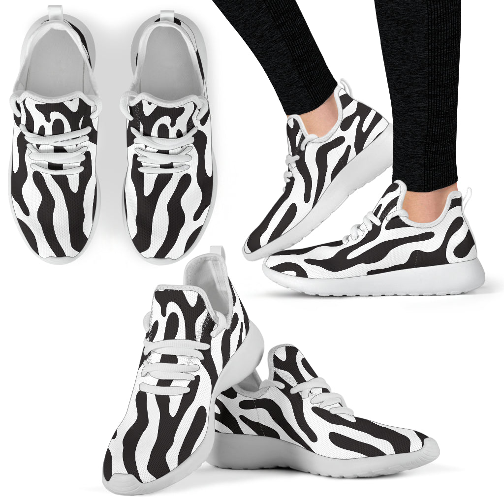 White  - Black and White Animal Pattern Mesh Knit Sneakers