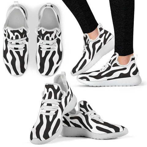 Image of White  - Black and White Animal Pattern Mesh Knit Sneakers