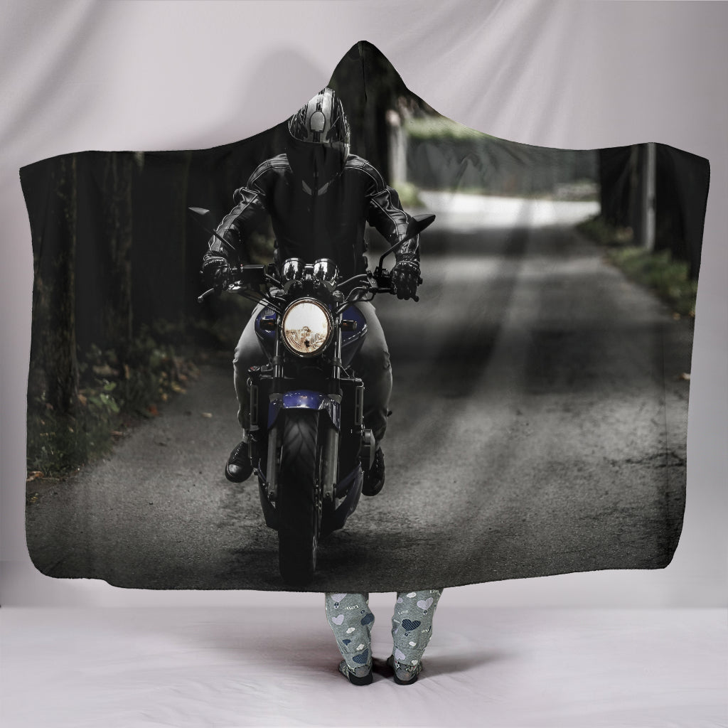 Motorcycle Lovers Plush Hooded Blanket