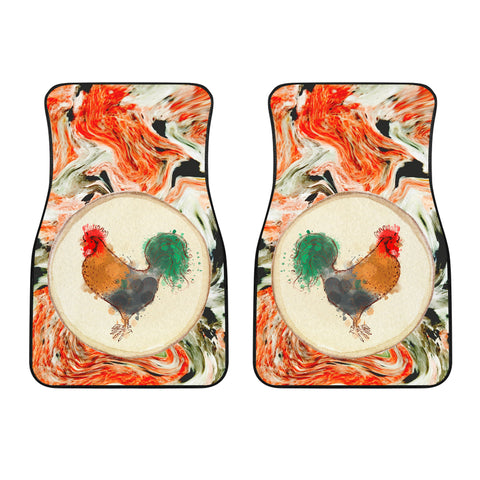 Image of Pastel Chicken Front Car Mats (Set Of 2)