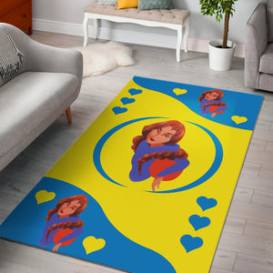 Sport-Club-Girl-01 Yellow and Blue Area Rug