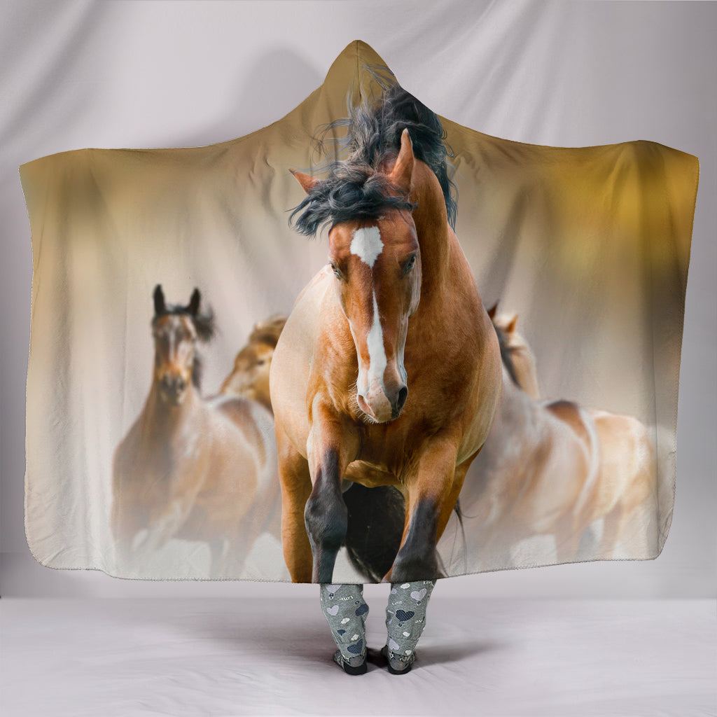 Wild Horses Hooded Blanket