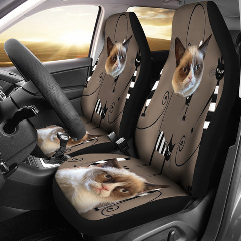 Image of Funny cat face Car Seat Cover