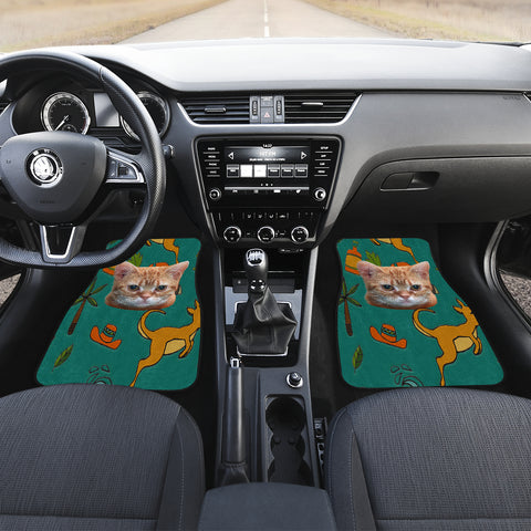 Image of Yellow cat Front And Back Car Mats (Set of 4)