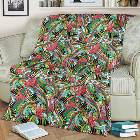 Funky Patterns in Greens - Throw Blankets