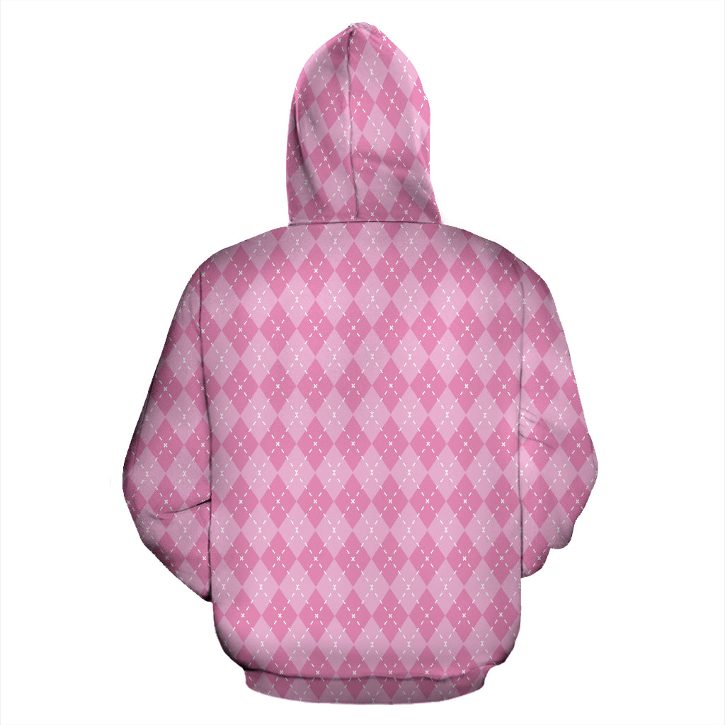 Pink Argyle All Over Hoodie