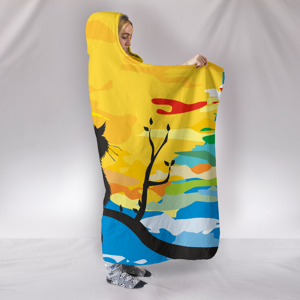 Sunset Cat Hooded Blanket