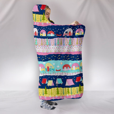 Image of HAPPY TRAILS CAMPING HOODED BLANKET