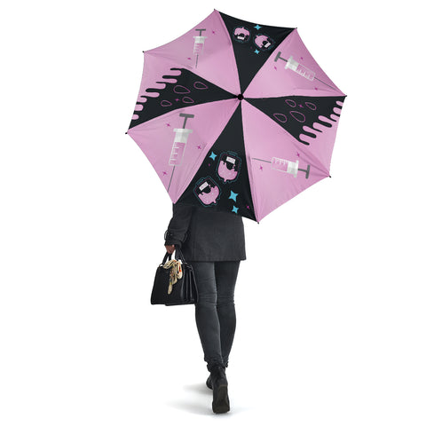 Image of Pink-Medic All Over Print Umbrella